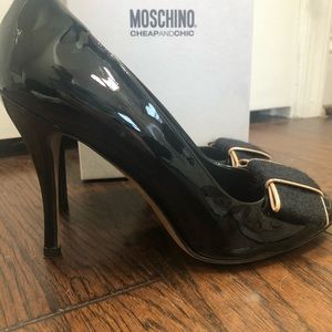 Moschino Black Patent Leather Stilettos